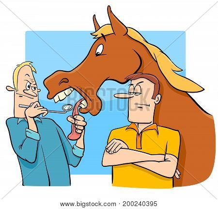 Saying Looking A Gift Horse In The Mouth Cartoon