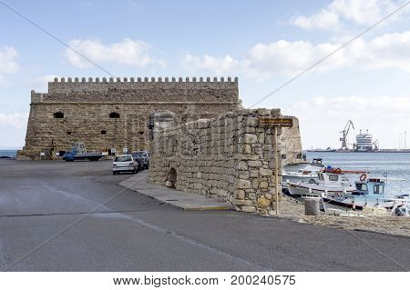 View of the ancient sea fortress (city Rethymno, island Crete, Greece)