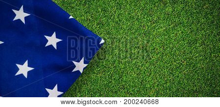 American flag on white background against close-up of grass mat
