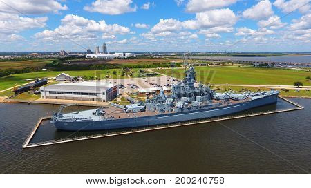 Historic USS Alabama battleship located in Mobile Bay