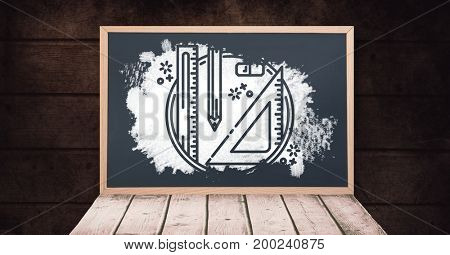 Digital composite of stationery on blackboard with chalk