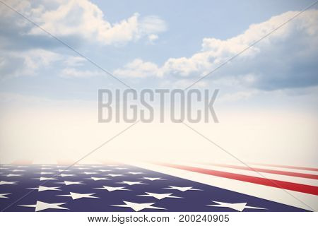 USA national flag against blue sky