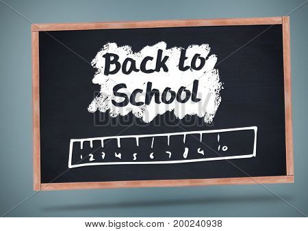 Digital composite of Back to school  text with ruler on blackboard