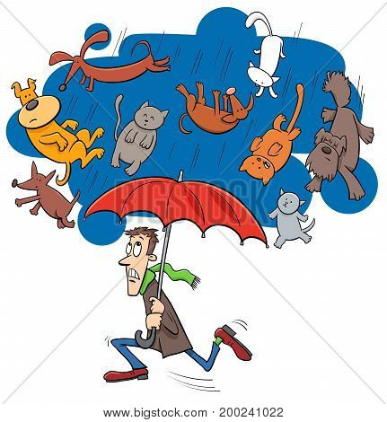 Saying Raining Cats And Dogs Cartoon Illustration