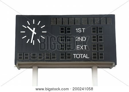 Scoreboard at soccer field isolated on white background. This has clipping path.