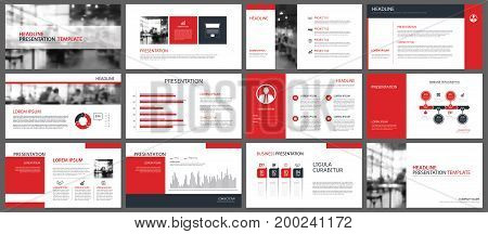 Red presentation templates and infographics elements background. Use for business annual report flyer corporate marketing leaflet advertising brochure modern style.