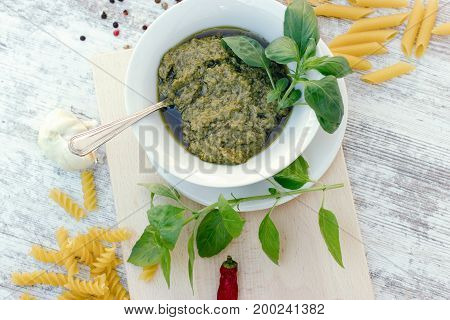 Homemade basil pesto sauce - healthy Italian , Mediterranean food