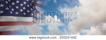 Digital composite of USA flag with sky with black transition