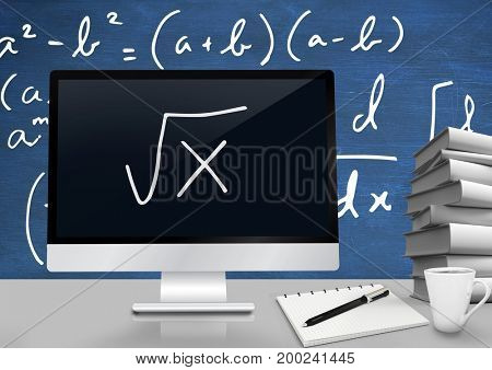 Digital composite of Computer at Desk foreground with blackboard graphics of math equations