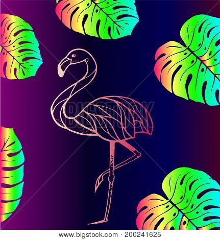 Pink flamingos with tropical leaves - trend of the season. Bright gradient background