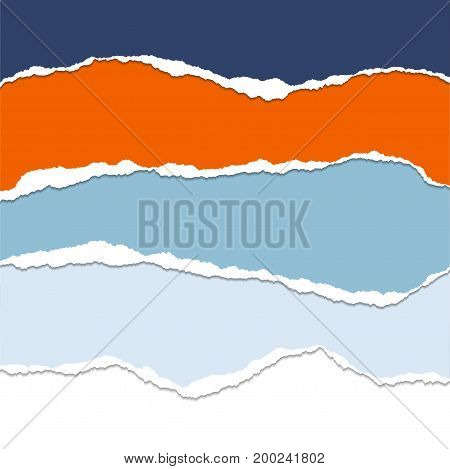 Set of colored sheets of paper with torn edges with shadow - vector illustration