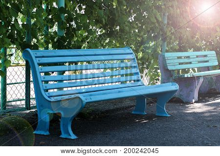 blue bench, bench in the sun, place in the Park, wooden bench, empty the bench