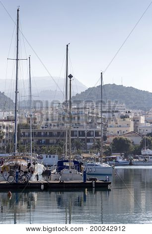 Yachts moored on the waterfront (Greece, island Crete)