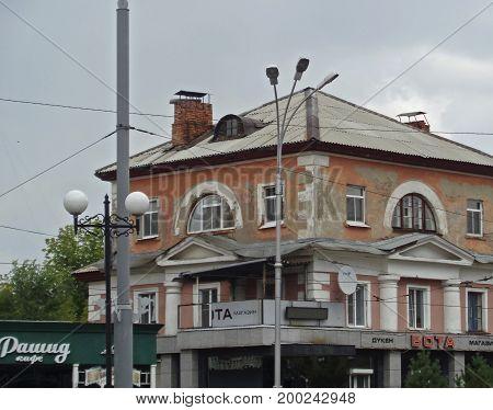 Kazakhstan, Ust-Kamenogorsk - 02, Aug 2017. A fragment of a house on the street Voroshilov. Old building. Old architecture.