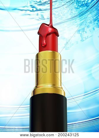 Red lipstick and nail polish on blue bokeh background. 3d rendering