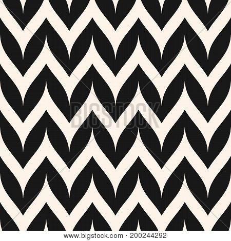 Herringbone pattern. Vector zigzag pattern. Horizontal curved wavy zig zag lines. Simple stylish abstract geometric background. Black & white striped texture. Design for decor prints textile fabric. Chevron seamless pattern.