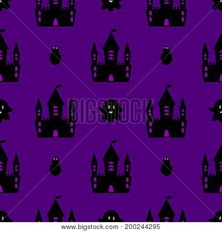 Castle halloween seamless pattern vector  anger, road, nightmare, vintage, fabric