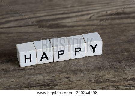 Happy, Written In Cubes