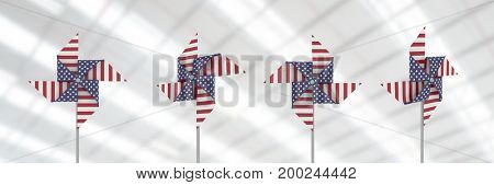 Digital composite of USA wind catchers in front of bright roof