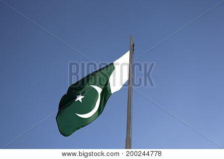 National Flag Of Pakistan On A Flagpole
