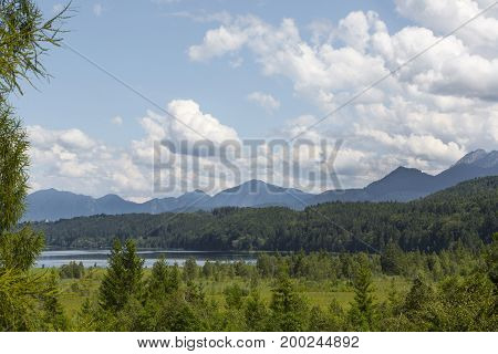 Nature Landscape With Mountain Panorma At Staffelsee, Bavaria, Germany