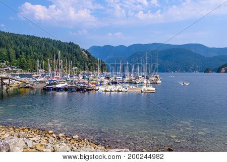 Luxury yachts in the bay of Deep Cove, Vancouver, Canada.