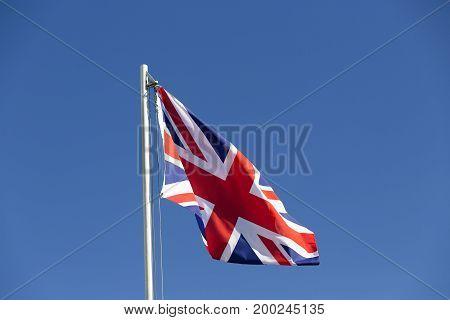 Uk Flag On A Flagpole