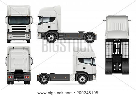 White truck vector template for car branding and advertising. Lorry set on white background. All layers and groups well organized for easy editing and recolor. View from side front back top.