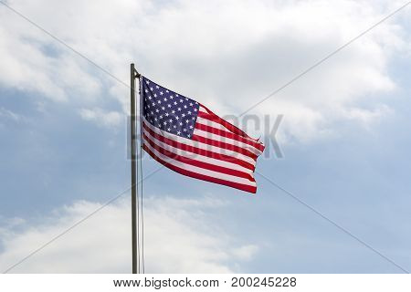 Flag Of United States On A Flagpole