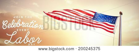 Digital composite image of join celebratio event labor day text against view of beach during sunset