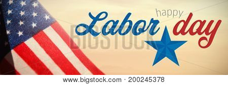 Digital composite image of happy labor day text with star shape against view of beach during sunset