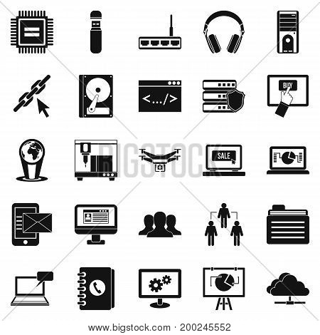 Wireless technologies icons set. Simple set of 25 wireless technologies vector icons for web isolated on white background