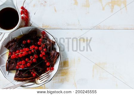 Chocolate Crepes With Currants