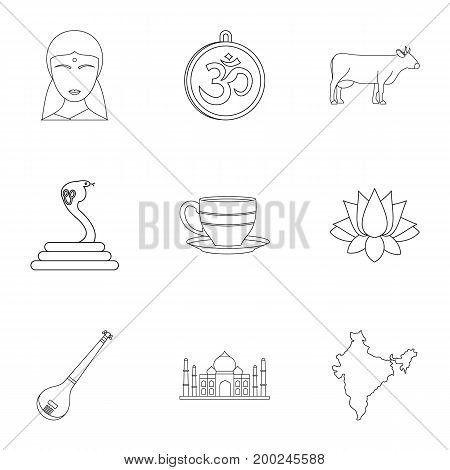 Tourism in India icon set. Outline style set of 9 tourism in India vector icons for web isolated on white background