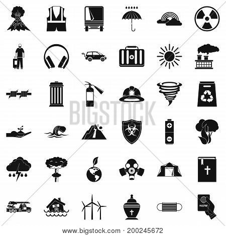 Dreadful disaster icons set. Simple style of 36 dreadful disaster vector icons for web isolated on white background