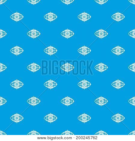 Eye and target pattern repeat seamless in blue color for any design. Vector geometric illustration