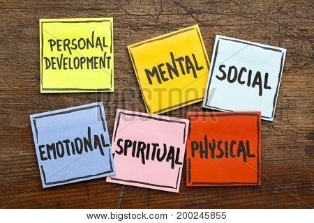 personal development concept (mental, social, emotional, spiritual, physical) - handwriting in black ink on sticky notes against rustic wood