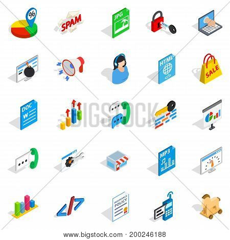 Guide icons set. Isometric set of 25 guide vector icons for web isolated on white background