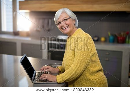 Portrait of smiling senior woman using laptop in kitchen