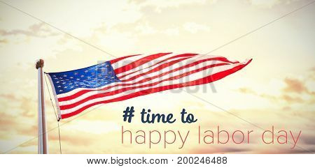 Digital composite image of time to happy labor day text against scenic view of lake