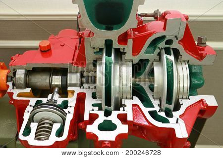 Engine Pump Water Exploded View Of Firefighting Machine Hydraulics Tool Of Fire Engine. Engine Pump