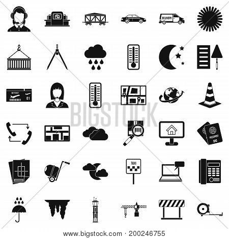 Woman operator icons set. Simple style of 36 woman operator vector icons for web isolated on white background