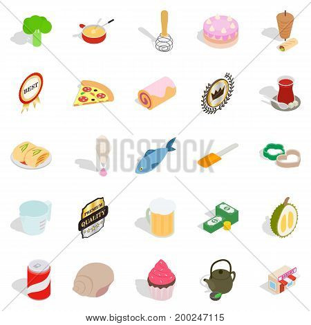 Flour food icons set. Cartoon set of 25 flour food vector icons for web isolated on white background