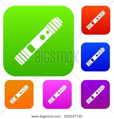 Battery mod for electronic cigarette set icon in different colors isolated vector illustration. Premium collection