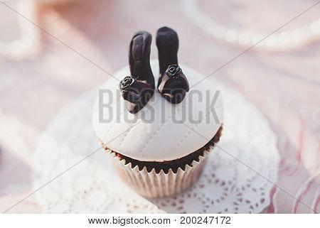mini tasty cupcake on table. Delicious treats