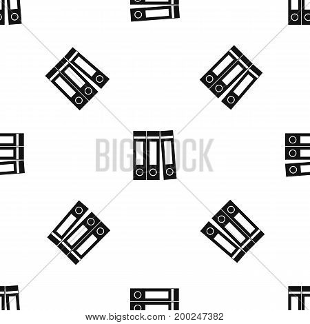 Office folders with documents pattern repeat seamless in black color for any design. Vector geometric illustration