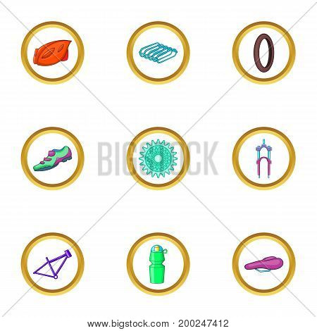 Bike spare icons set. Cartoon illustration of 9 bike spare vector icons for web design