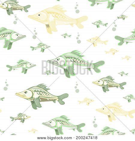 seamless pattern of colorful fish, vector illustration