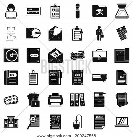 Computer document icons set. Simple style of 36 computer document vector icons for web isolated on white background