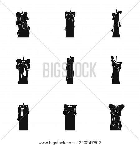 Decorative candle icon set. Simple style set of 9 decorative candle vector icons for web isolated on white background